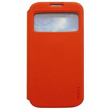 Brand New Genuine Fenice Piatto View Galaxy S4 IV i9505 Flip Case Cover Orange