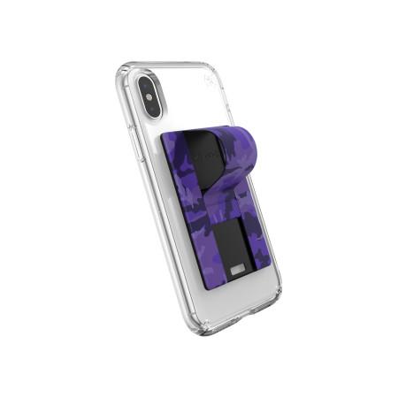 Speck GrabTab Finger Grip/Holder Mount Stand Camo Purple Universal
